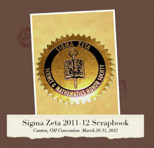 2012 Sigma Zeta Scrapbook Cover - Malone University